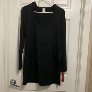 NWT Merona size S shirt dress hoodie pockets black
